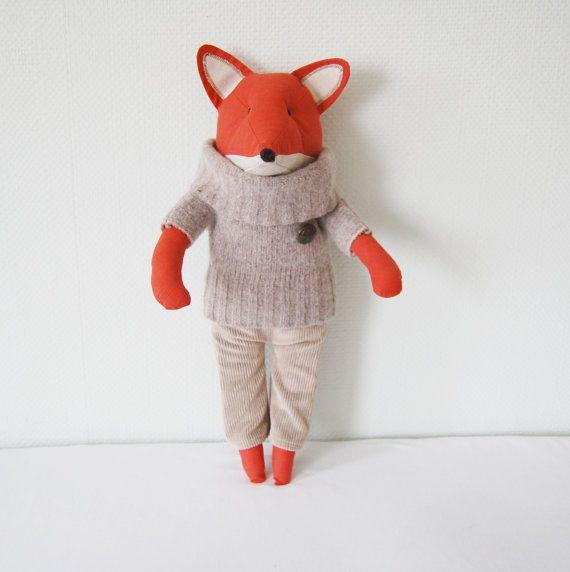 Reserved For Evangelinasmomma Fantastic Mr Fox Stuffed Toy Fox Toy Fox Stuffed Woodland Animal Fantastic Mr Fox Dinosaur Stuffed Animal Handmade