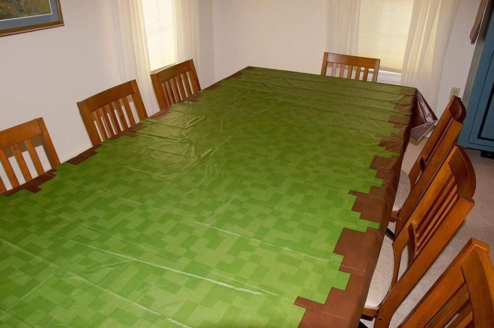 Birthday party pixel mine craft crafter style themed tablecloth table decoration minecraft playing game also rh in pinterest