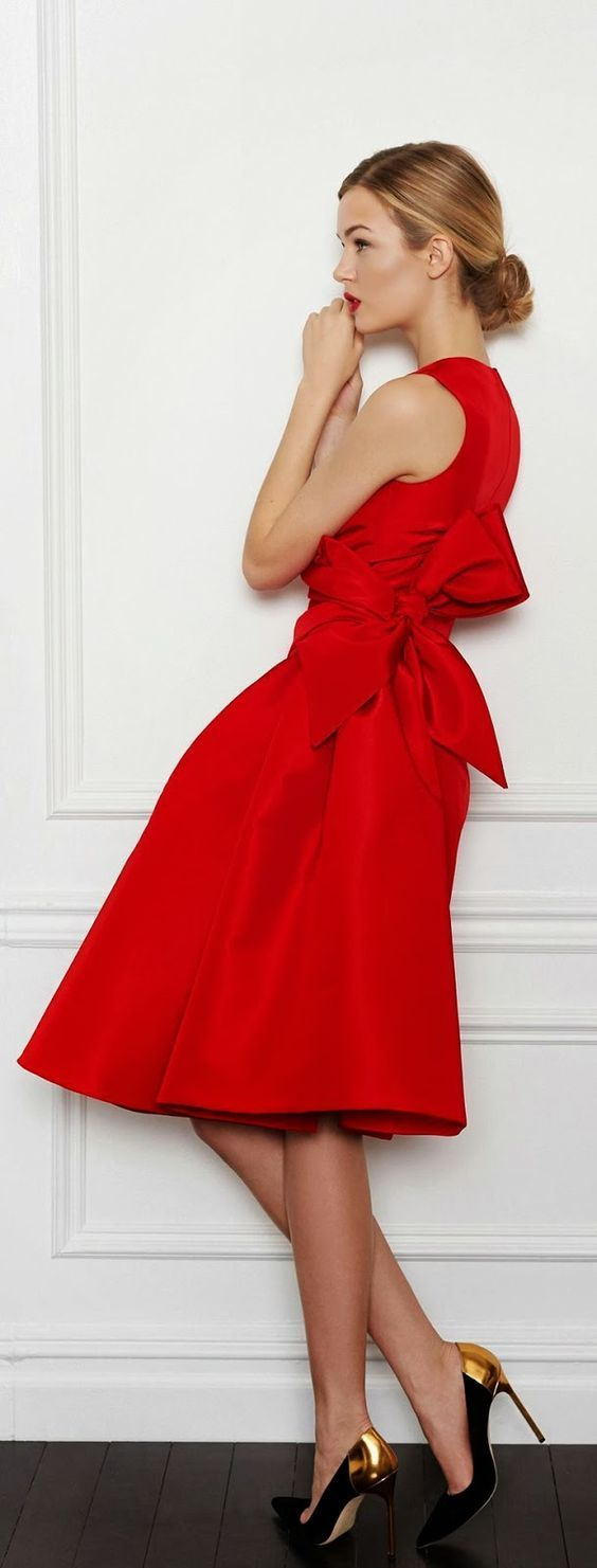 Red short party dressoneck homecoming dress with bowcheap prom