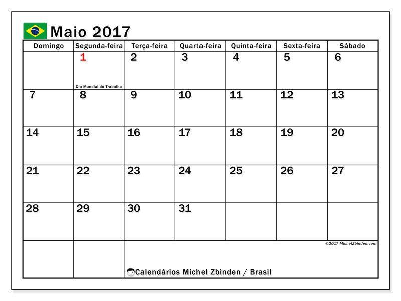 Livre Calendarios Para Maio 2017 Para Imprimir Brasil