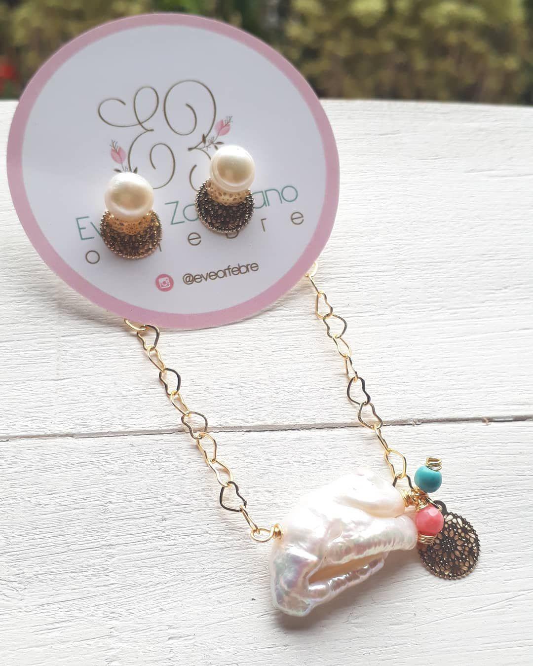 755f37b956 Cadena con Perla Barroca! Y zarcillos de perla cultivada 😍   perlascultivadas  zarcillos