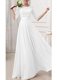 Discount Hot Sale Lace And Chiffon 1/2 Long Sleeve A Line Wedding Dresses 2016 With Jewel Collar Sweep Train Cheap Wedding Gowns Custom Made Latest Wedding Gown Mature Wedding Dresses From Liuliu8899, $128.15| DHgate.Com