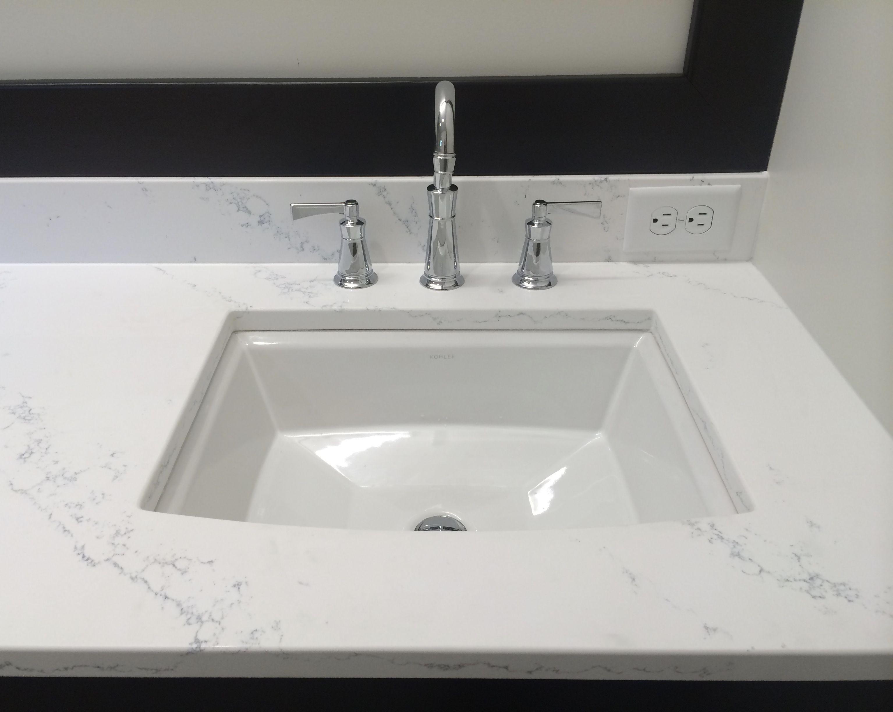 Quartz countertops Kohler Archer undermount sink and