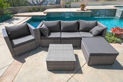 6pc outdoor patio patio sectional furniture pe wicker rattan sofa rh pinterest com