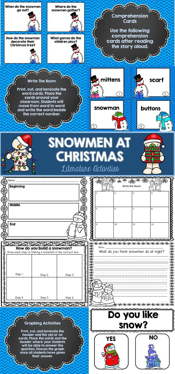 Snowmen at Christmas Literature Packet   Snowman, Retelling ...