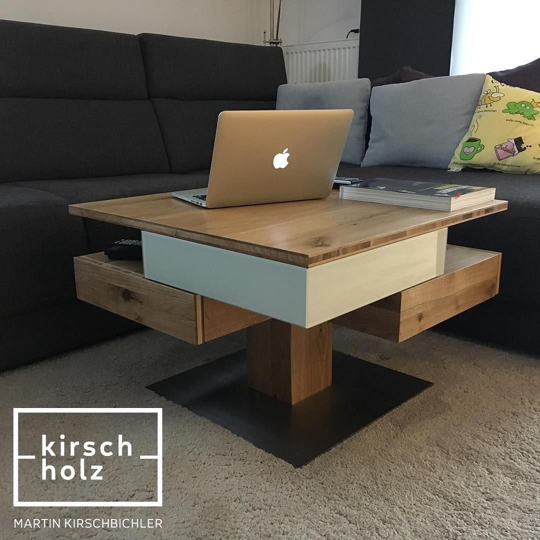 Kirschholz Couchtisch Eiche Glas Lacobel Edelstahl Höhenverstellbarertisch Höhenverstellbar Interiordesign Tischler Furniture Pallet Table Home Decor