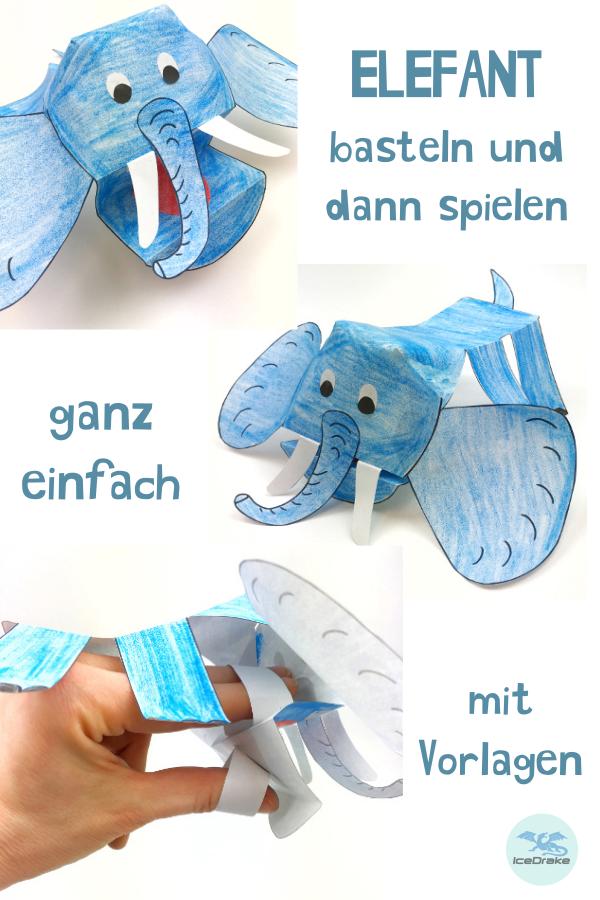 Elefanten Basteln Fingerpuppe Aus Papier Tiere Basteln Animals
