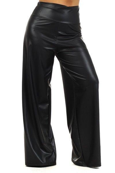 d7fb3aad120 PLUS SIZE BLACK FAUX LEATHER HIGH WAIST WIDE LEG PALAZZO LONG PANTS 1X 2X  3X  LAFashions  CasualPants
