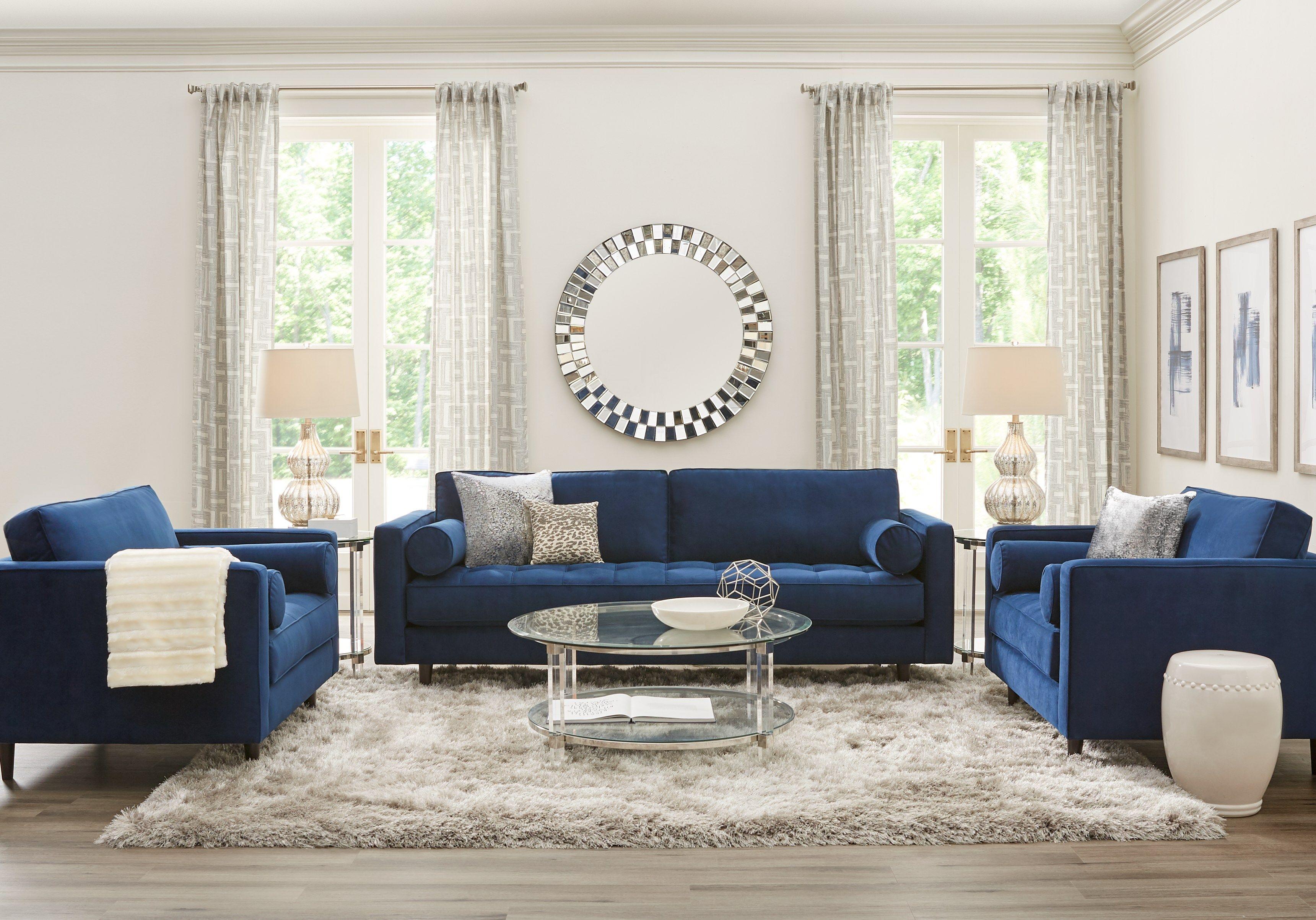 Sofia Vergara Pacific Palisades Navy Plush 7 Pc Living Room Living Room Sets Furniture Living Room Sets Blue Living Room Sets