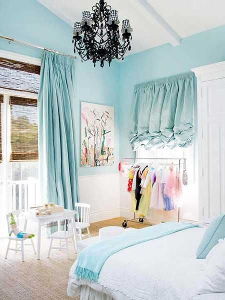 Child Bedroom With Light Blue Walls Curtains And White Bedding