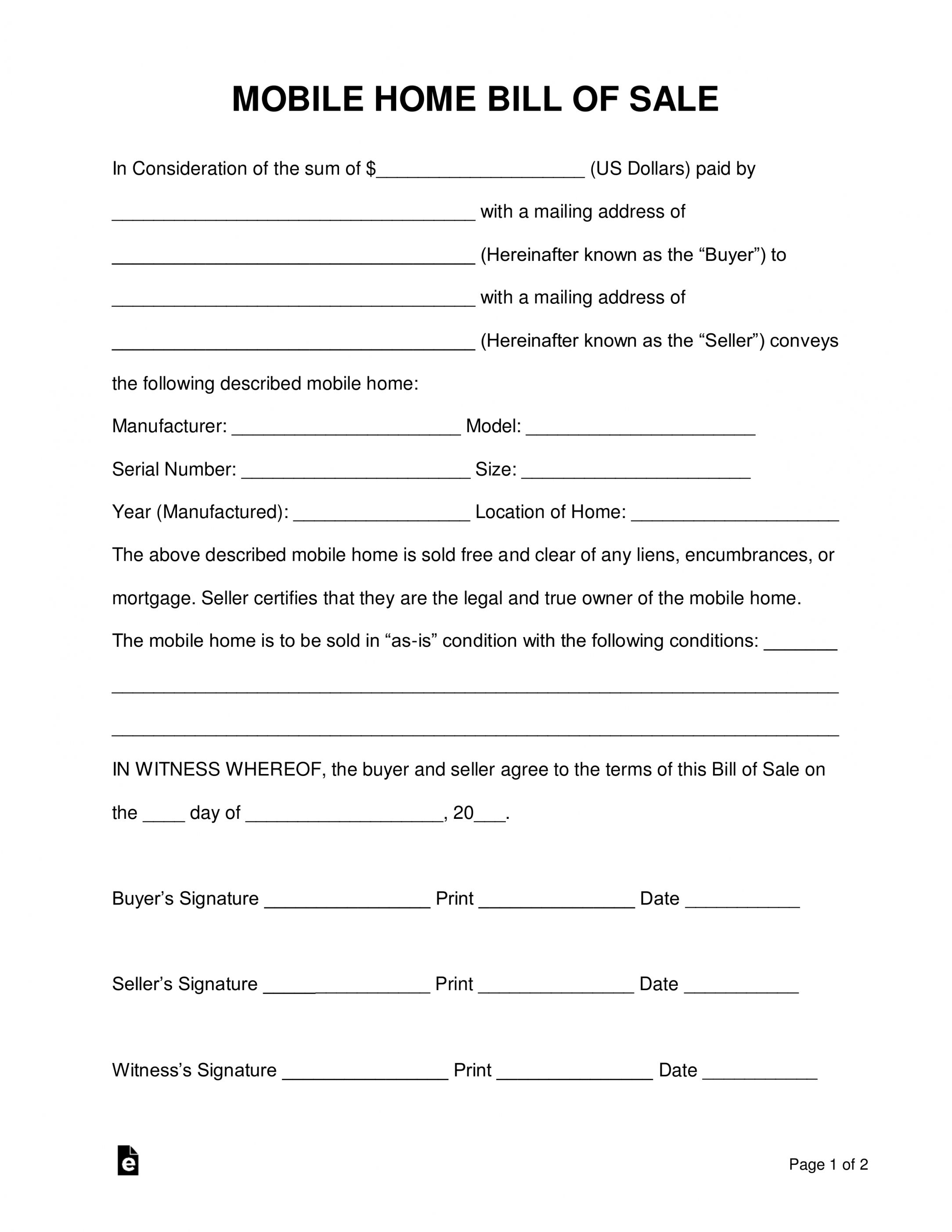 Explore Our Image Of Mobile Home Sales Contract Template For Free In 2021 Receipt Template Contract Template Templates