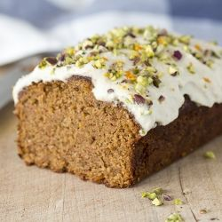 Moist and fragrant carrot cake covered in a delicate vanilla and orange frosting. And it's vegan too. Hope you'll enjoy.