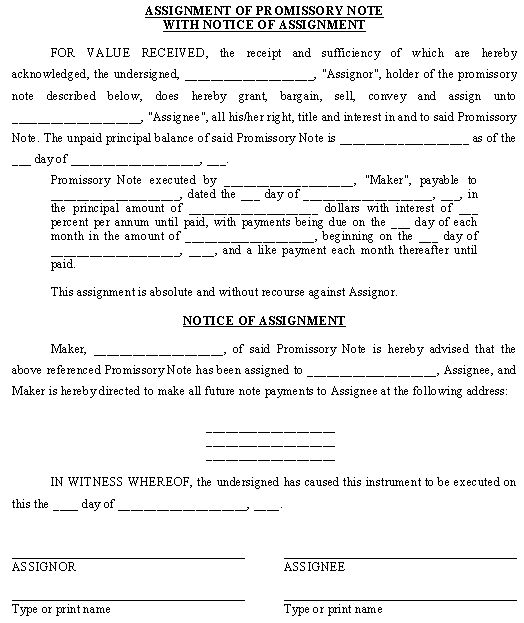 Promissory Note Assignment And Notice Of Assignment Template