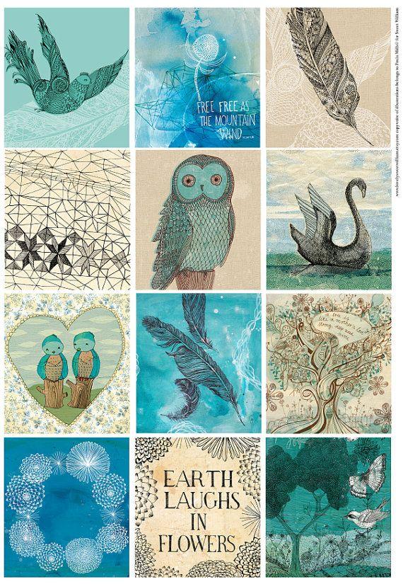 Blue Bird Tags - Digital Download Set of 12 Sweet William illustrative tags