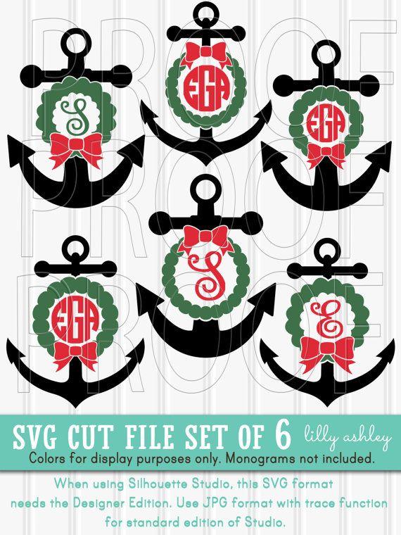 monogram svg files set of 6 cut files includes svgpngjpg - Christmas Monograms