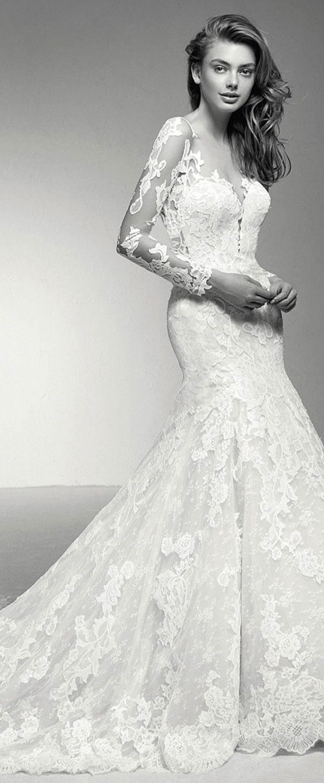 Lace sleeve mermaid wedding dress  Fascinating Tulle u Lace Jewel Neckline Natural Waistline Mermaid