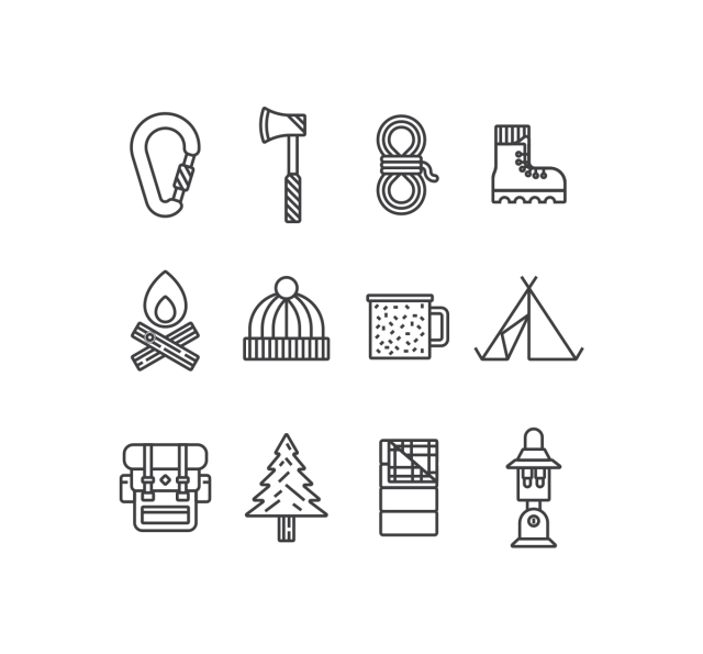 9 free camping vector icon sets golf 2016 pinterest camping