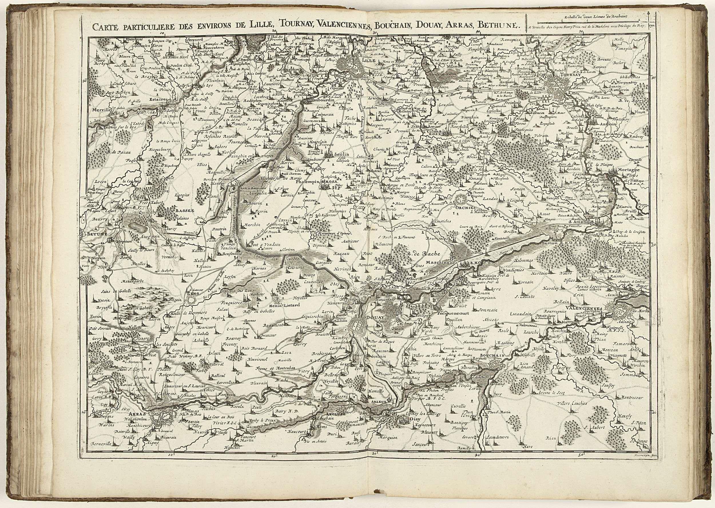 Jacobus Harrewijn   Kaart van Noord-Frankrijk, 1711, Jacobus Harrewijn, Eugene Henry Fricx, unknown, 1711   Kaart van Noord-Frankrijk met de steden Lille, Tournai, Valenciennes, Bouchain, Douai, Arras en Béthune, 1711. Onderdeel van een gebundelde verzameling van plannen van veldslagen en steden vermaard in de Spaanse Successieoorlog. Deze plaat behoort tot de eerste 24 platen die samen een zeer grote kaart van de Zuidelijke Nederlanden vormen.