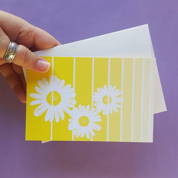 Yellow daisy spring note cards set flower art print greeting card yellow daisy spring note cards set flower art print greeting card thank you cards set note cards note and card stock m4hsunfo