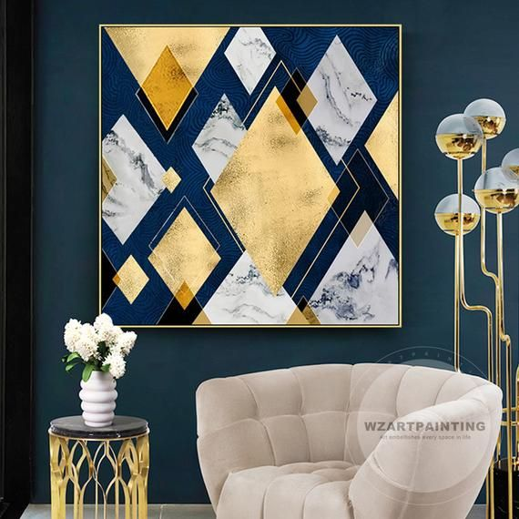 Modern Geometric Gold Silver Rhombus Navy Blue Print Painting Ready To Hang On Canvas Luxury W Gold Living Room Blue And Gold Living Room Large Framed Wall Art