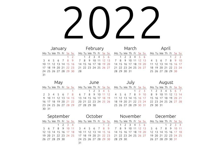 2022 Calendar Monday Start.Simple Calendar 2022 Monday Calendar Stationery Templates Diy Calendar