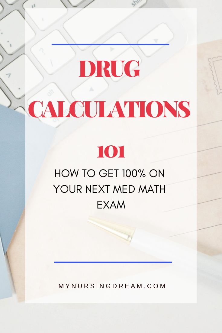 Are you studying for a Dosage calculations exam?  Want to take Nursing Med Math exams with confidence?  This course make nursing math super easy.  With practice problems, worksheets, and a step by step guide, you'll learn exactly how to ace the dosage calculation exam.    Pin this to your board and click to get this amazing course made just for nursing students!  #dosagecalculations #medmath #nursingschool #nursingstudents #math #mathmadeeasy #nursingstudents
