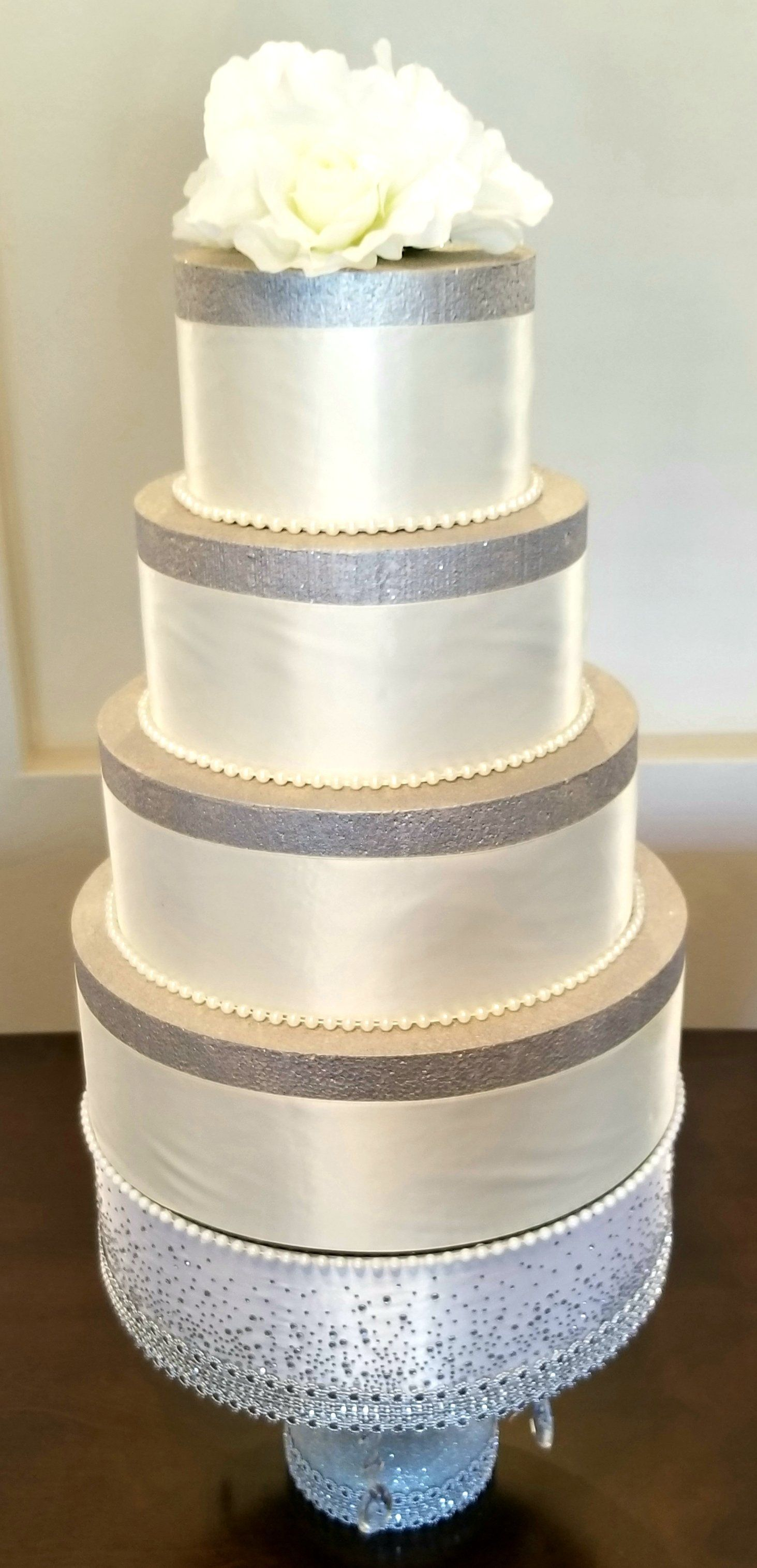 Satin Bling Wrapped Diamonds Pearls 12 Inch Round And 6 Inches Tall Wedding Cake Stand Wedding Cake Stands Tall Wedding Cakes Beautiful Cake Stands
