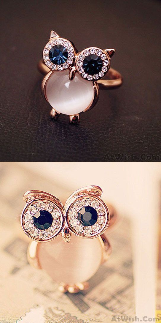 A perfect birthday gift ! Lovely Owl Opal Opening Animal Ring ! #ring #cute #lovely #owl #jewlery #opal
