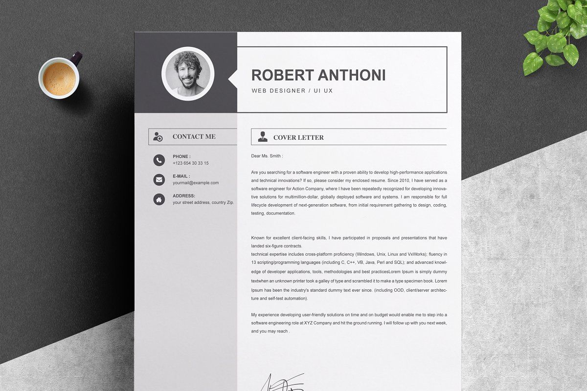 2 Pages Resume Template Cv Design Resume Template Cv Design Cover Letter Template
