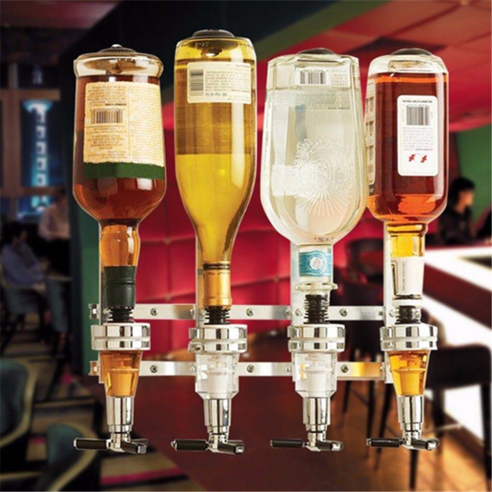 All Mounted 4 Station Liquor Wine Dispenser Machine Bar Butler Drinking Pourer Home Bar Tools For Beer Soda Co Liquor Dispenser Wine Dispenser Wine Bottle Wall