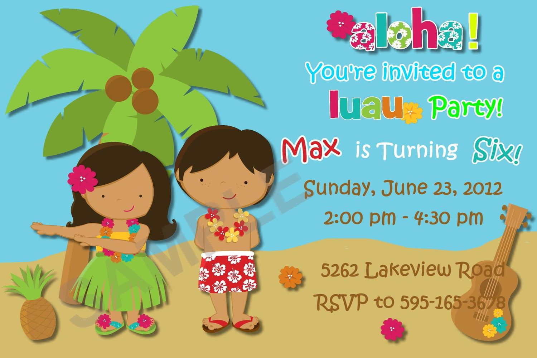 Hawaiian Luau Party Custom Birthday Invitation, Photo Invitation ...