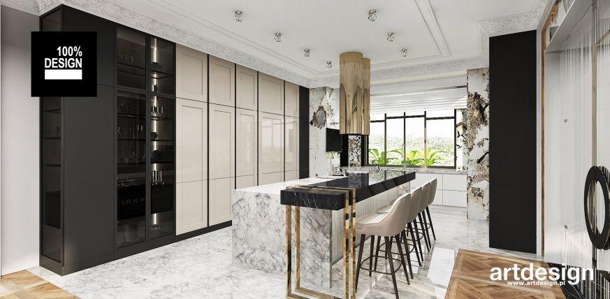Projekt Kuchni W Stylu Glamour Zlote Dodatki Kamienne Blaty Wyszukane Materialy Projekt Artdesign Pl Kuchnia Kitchen Island Design Design Island Design