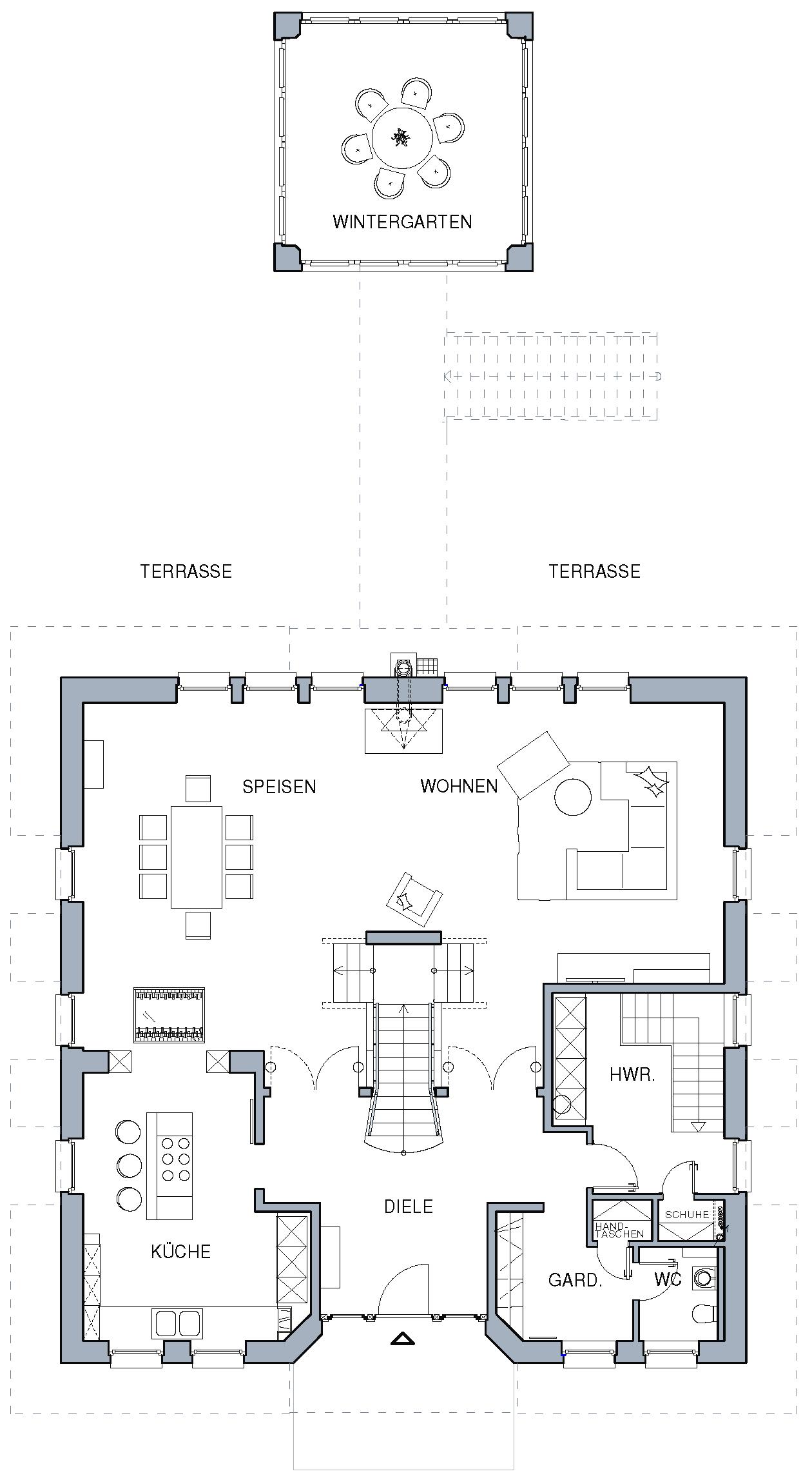 Grundriss für großen Lebensraum Landhäuser grundriss