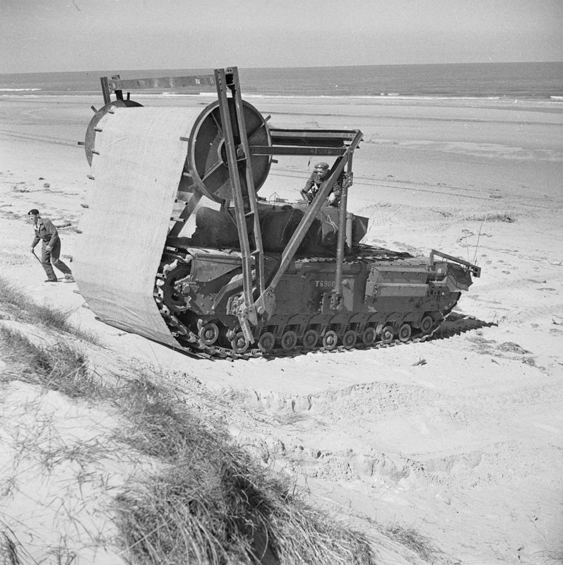 The 'Bobbin' carpet layer was a Churchill AVRE adapted to ...