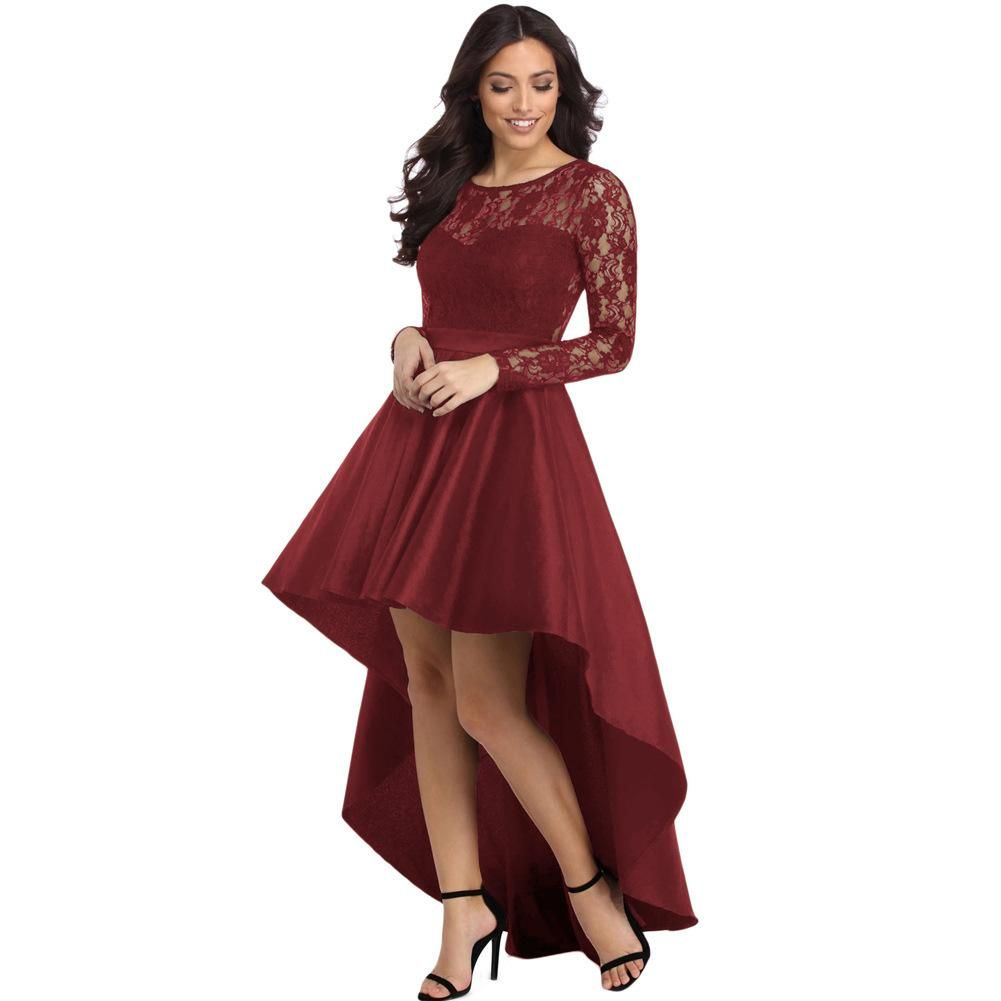 Lace Long Sleeve Round Neck Stitching Dress Pink Always High Low Cocktail Dress Womens Prom Dresses Satin Prom Dress [ 1001 x 1001 Pixel ]