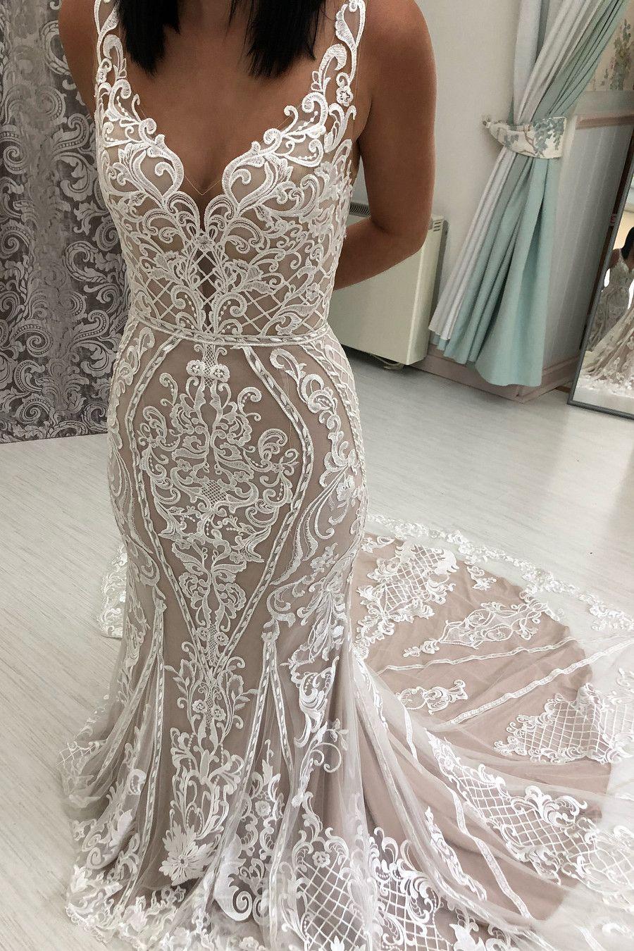 Crepe V Neck Mermaid Wedding Dress With Open V Back And Lace Top Pronovias Emily Pronovias Wedding Dress Fit And Flare Wedding Dress Wedding Dress Necklines [ 2255 x 1900 Pixel ]
