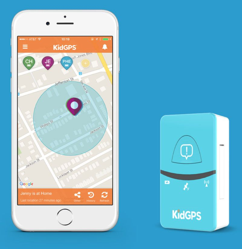 KidGPS tracking device and mobile app example. Tracking