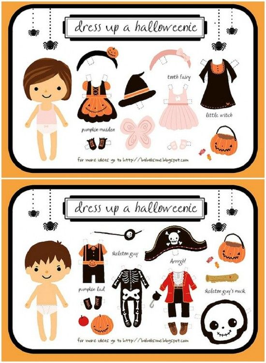 Boy & Girl Dress Up Halloween Paper Dolls | Children - Toys and ...