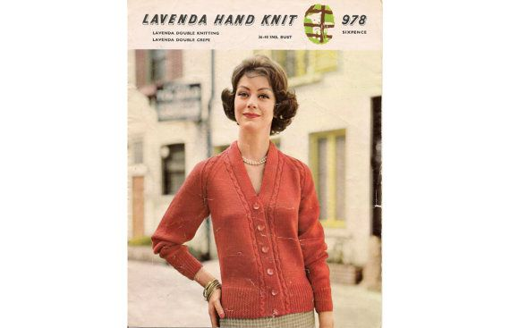 Lavenda Hand Knit 978 - Ladys Cardigan  Measurements To fit 36 (38) [40] inches. Bust measurement. Length from shoulder 20½ (20½) [20½] inches Length of underleeve seam 17 (17) [17] inches  Tension 6 sts and 8 rows equal one inch (No. 9 / 3.75 mm needles)  Thank you for stopping by