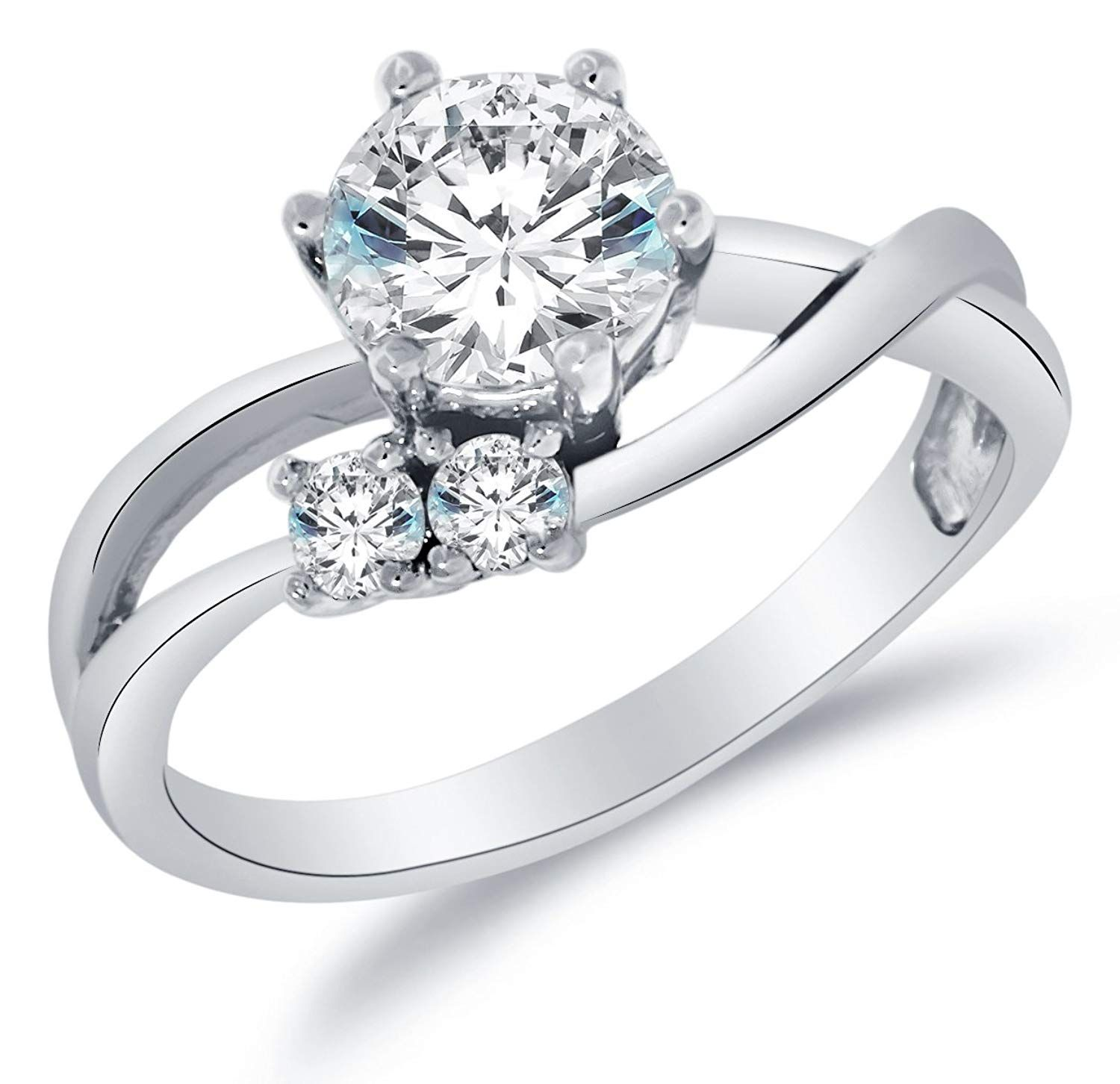 Solid 14k White Gold Highest Quality CZ Cubic Zirconia