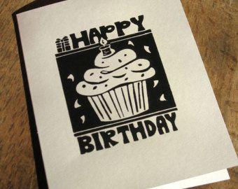 Single Hand Block Printed Birthday Card Blank