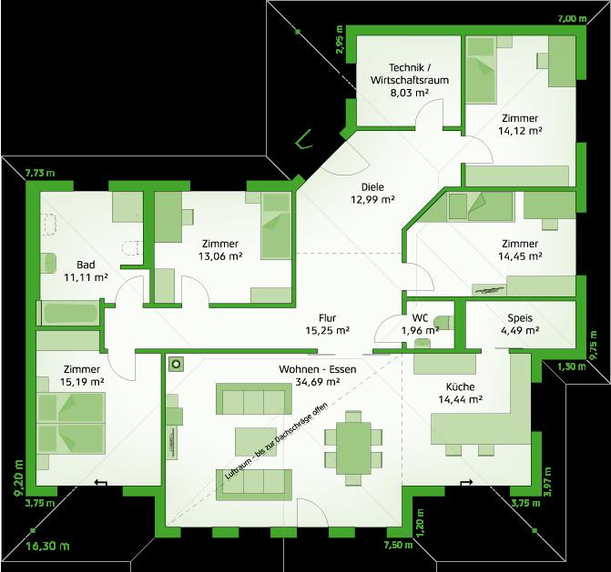 Erdgeschoss Hartl haus, Haus bungalow, Haus grundriss