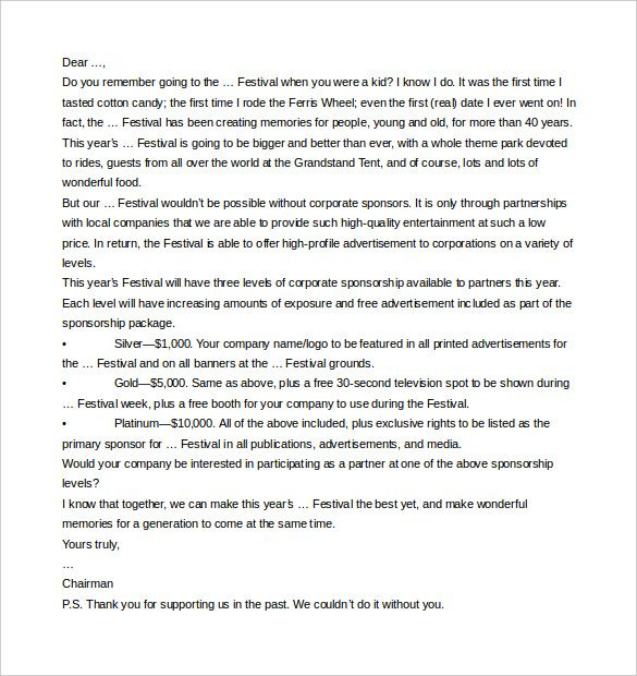 Sponsorship Letter Templates Free Sample Example Format Corporate