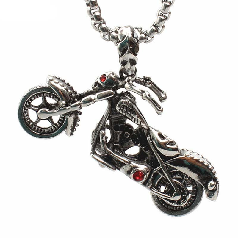 Stainless Steel Motorcycle Pendant Necklace Men's Ghost Rider Rock Punk Crystal Necklaces Pendants Charm Biker Jewelry 23in