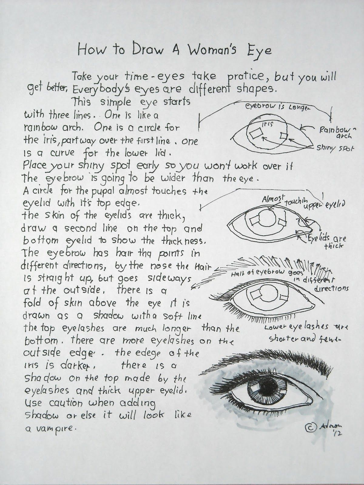 How To Draw A Woman S Eye Lesson And Worksheet
