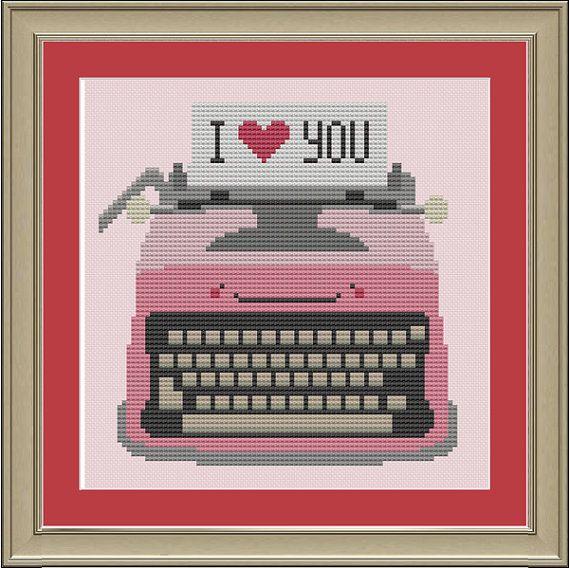 "Typewriter ""I love you"": cute cross-stitch pattern"