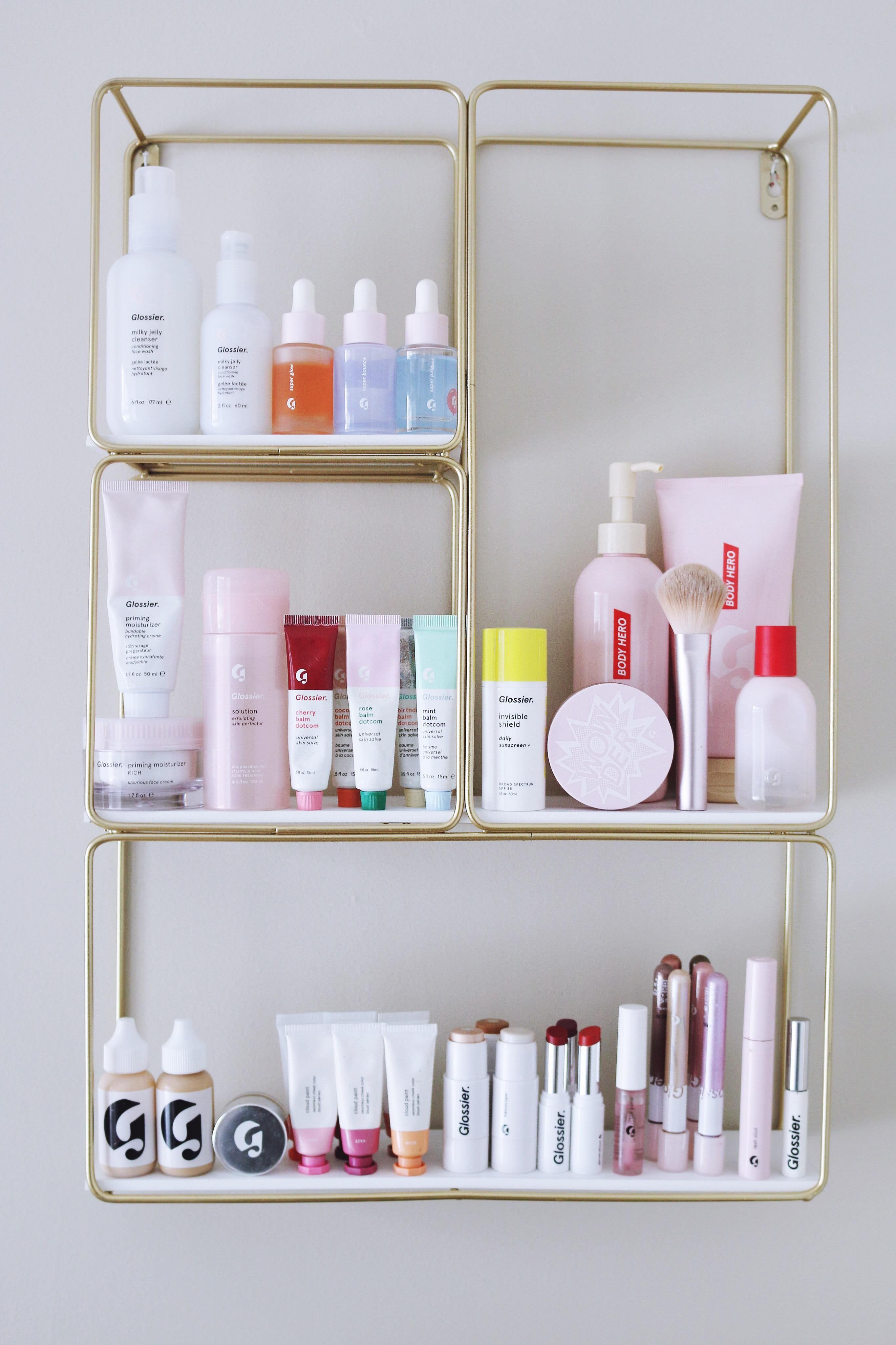 Https Www Reddit Com R Glossier Comments Ehgqw0 My Glossier Shelfie Best Glossier Products Glossy Makeup Makeup Salon