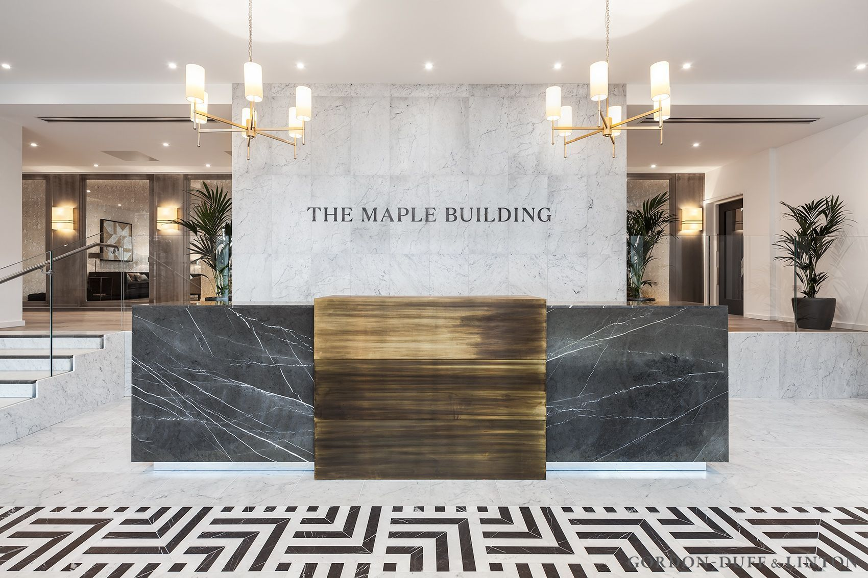 Reception Featuring Grey Marquina And White Carrara Marble