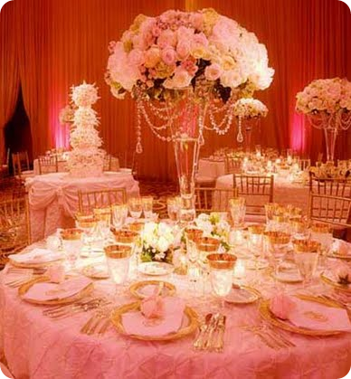 pink and ivory rose centerpiece with crystal swag draping wedding ...