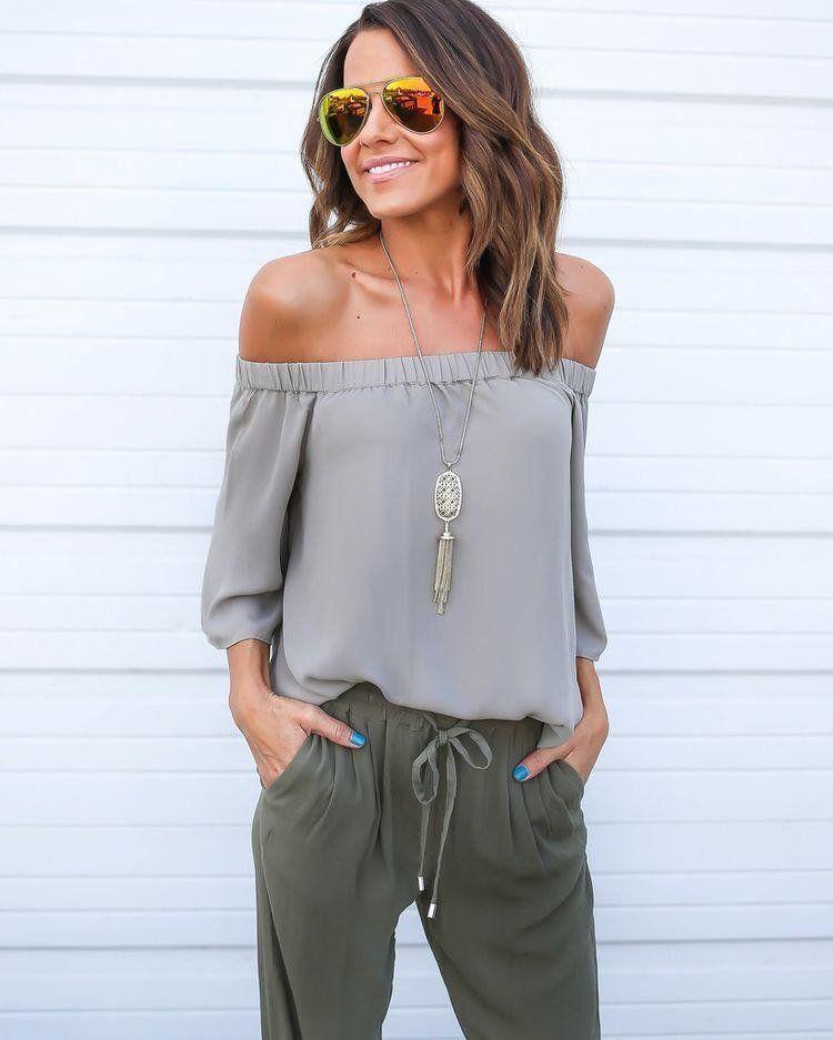 21e4fc3353677 Omzu Açık Bluz Kombinleri 2019 İlkbahar Yaz Moda Trendleri | bayan ...
